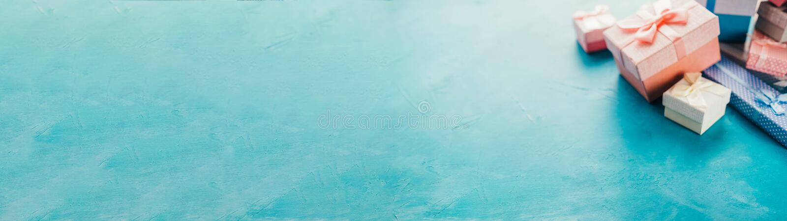 Special day surprise jewelry gift boxes aqua blue stock photos