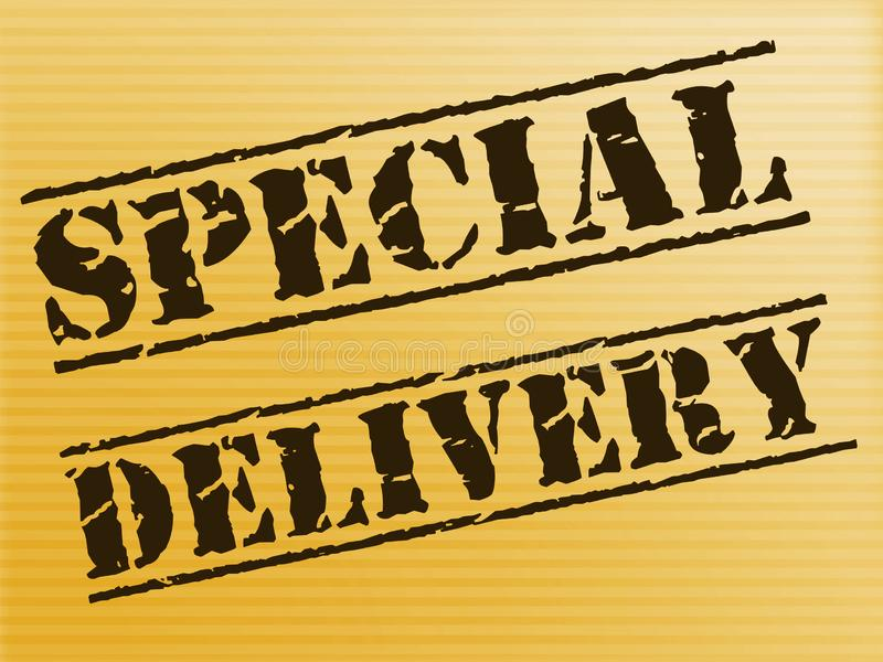 Special delivery stamp means priority mail and fast service - 3d illustration. Special delivery stamp means priority mail and fast service. Urgent delivery of a royalty free illustration