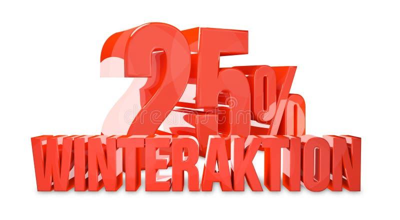 special do inverno da porcentagem de 25% ilustração stock