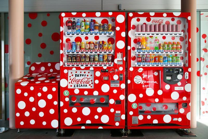 Special dotty design Coca Cola Vending Machine at Matsumoto City Museum of Art. MATSUMOTO, JAPAN - NOVEMBER 21, 2015: Special dotty design Coca Cola Vending royalty free stock photography