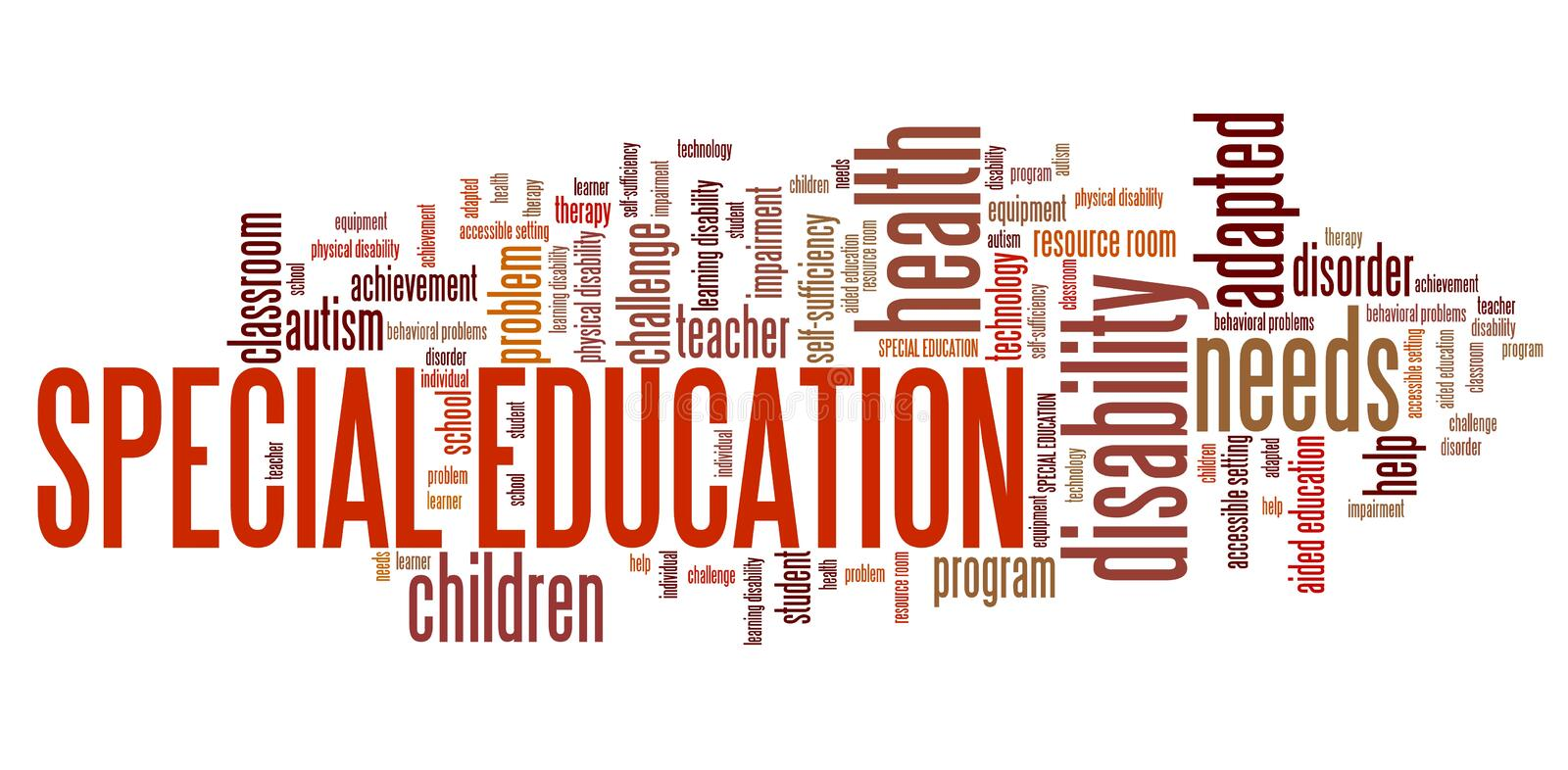 Special education. Needs - disability help word cloud royalty free illustration