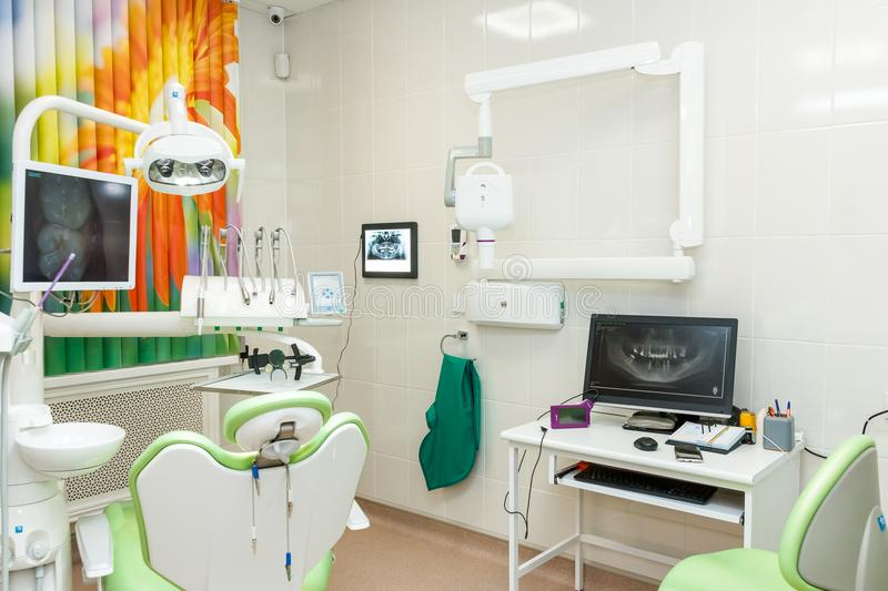 Special equipment for a dentist, dentist office.Design of new modern dental clinic office with new dental treatment unit stock images