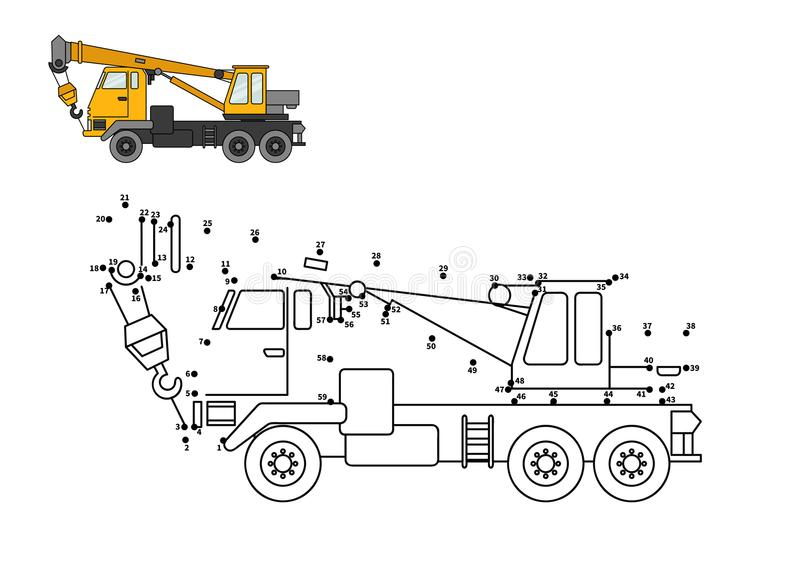 Game for kids. Special equipment. Truck crane. Connect the dot and color. Game for preschool kids with simple educational gaming level vector illustration