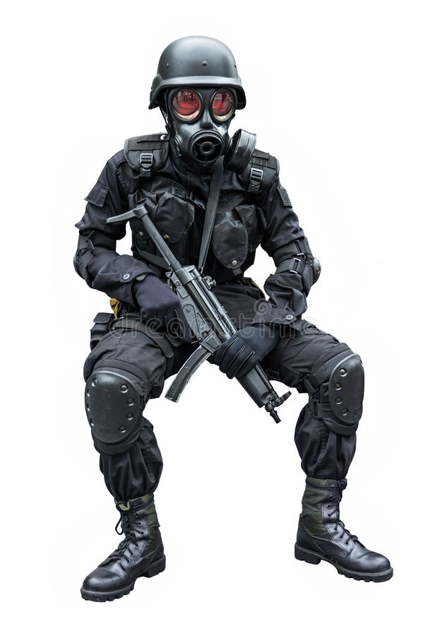 Special force soldier sitting in isolation backgro. Special force soldier wearing gask mask sitting in isolation background stock photos