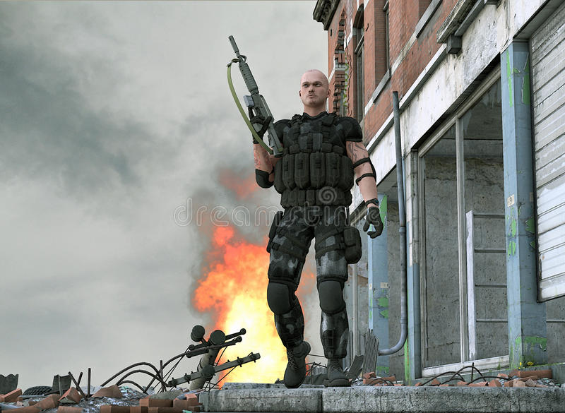 Special forces army soldier - video game. A special forces army soldier walking away from somthing he has just blown up
