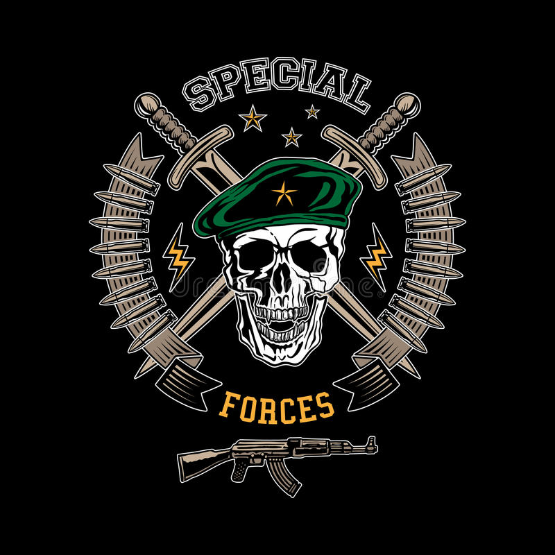 Special forces color emblem. Special forces colored vector emblem with skull, daggers and gun royalty free illustration