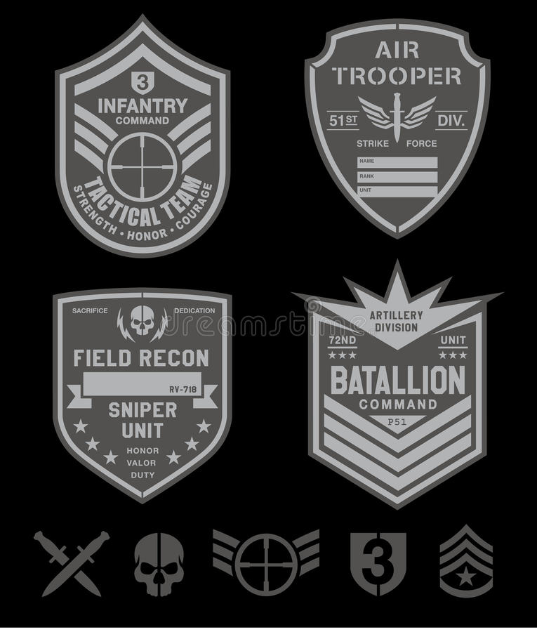 Special forces patch set stock illustration