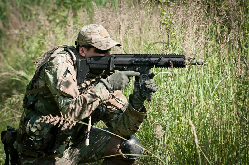 Download Special Forces Soldier Aiming On Enemy Stock Image - Image: 21469985