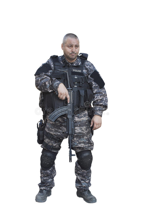 Special Forces soldier, with assault rifle. Fight against terrorism, Special Forces soldier, with assault rifle sa.vz.58, police swat, isolated on white stock photography