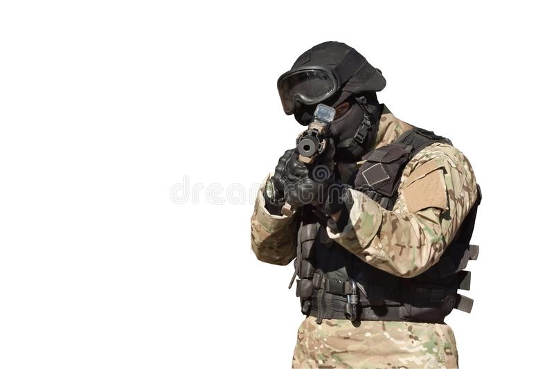 Special Forces soldier, isolated on white. Special Forces soldier, with assault rifle, isolated on white royalty free stock image