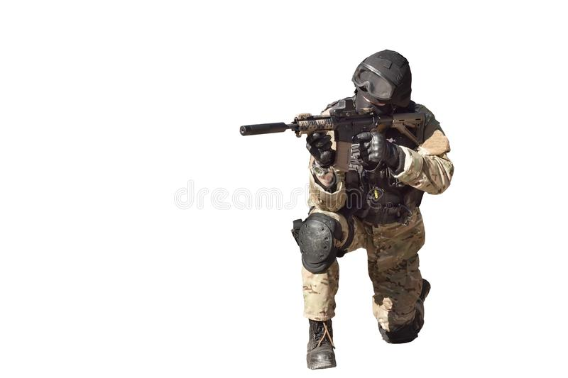 Special Forces soldier, isolated on white royalty free stock images