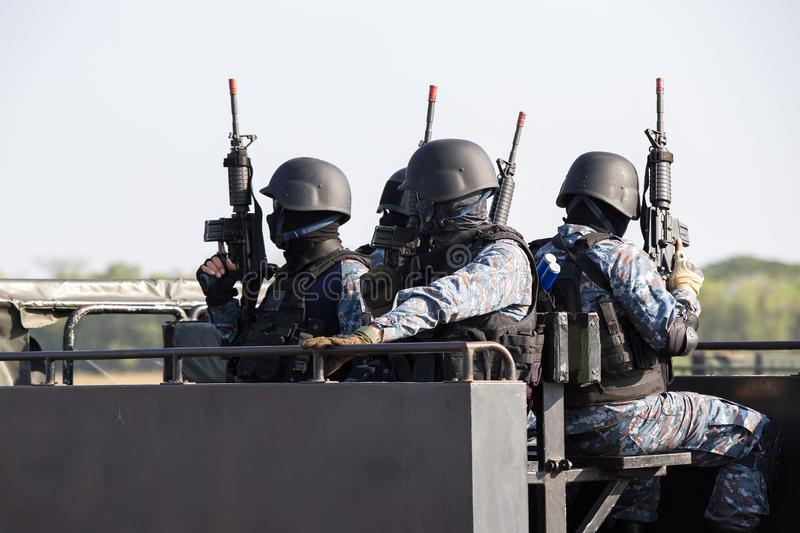 Special forces soldier police, swat team member royalty free stock photo