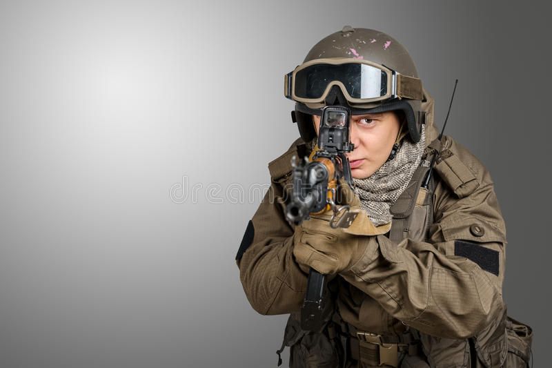 Special forces soldier. With rifle royalty free stock photos