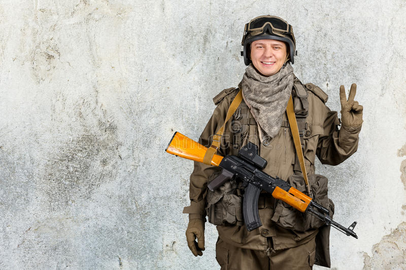 Special forces soldier. With rifle stock photography