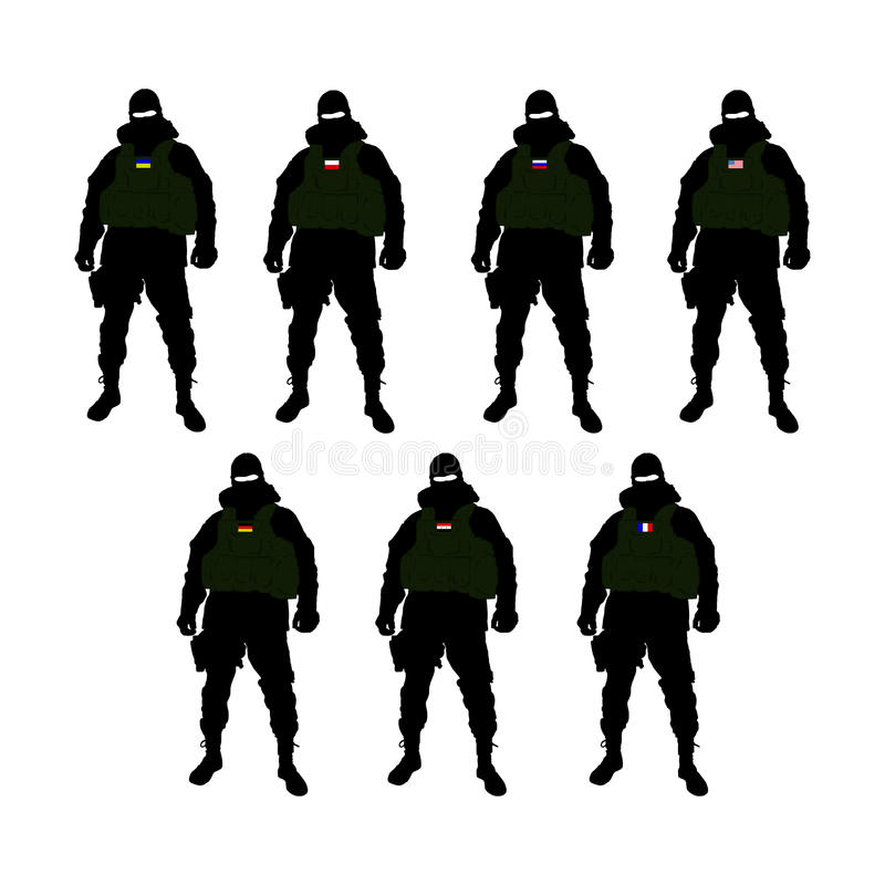 Special Forces soldier of some countries. Ukraine, Russia, Poland, USA, Germany, Syria, France. Black Soldier contour on white background royalty free illustration