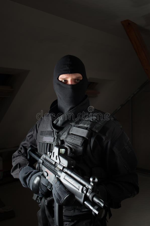 Special forces soldier after the strike stock photo