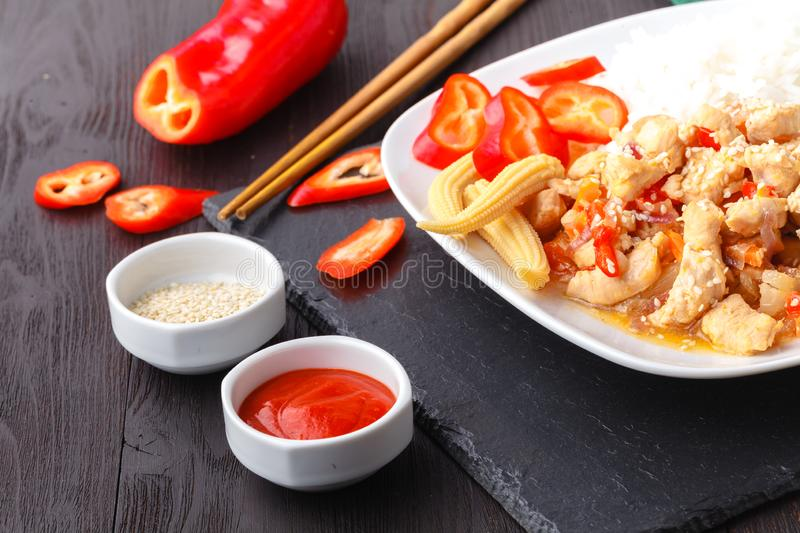 Special fried rice a popular oriental dish available at chinese take aways stock image