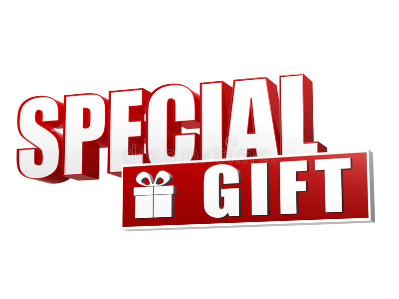 Special gift with present box sign in 3d letters and block. Special gift and present box symbol - text in 3d red and white letters and block, business holiday