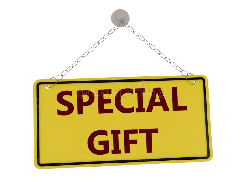 Special gift sign. With chain isolated on white background ,3d rendered royalty free illustration