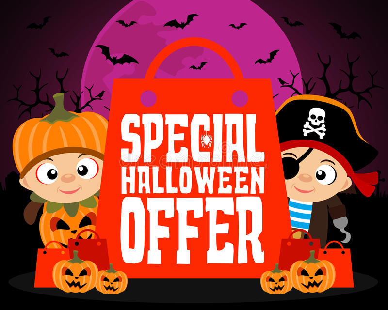 Special Halloween offer design background stock illustration
