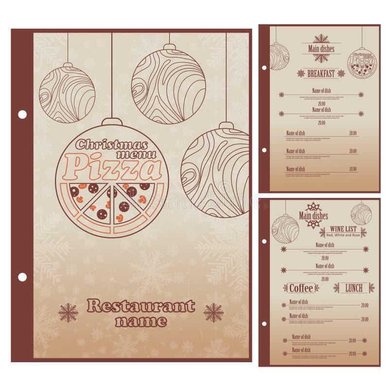 Special julrestaurangmeny för pizza royaltyfri illustrationer