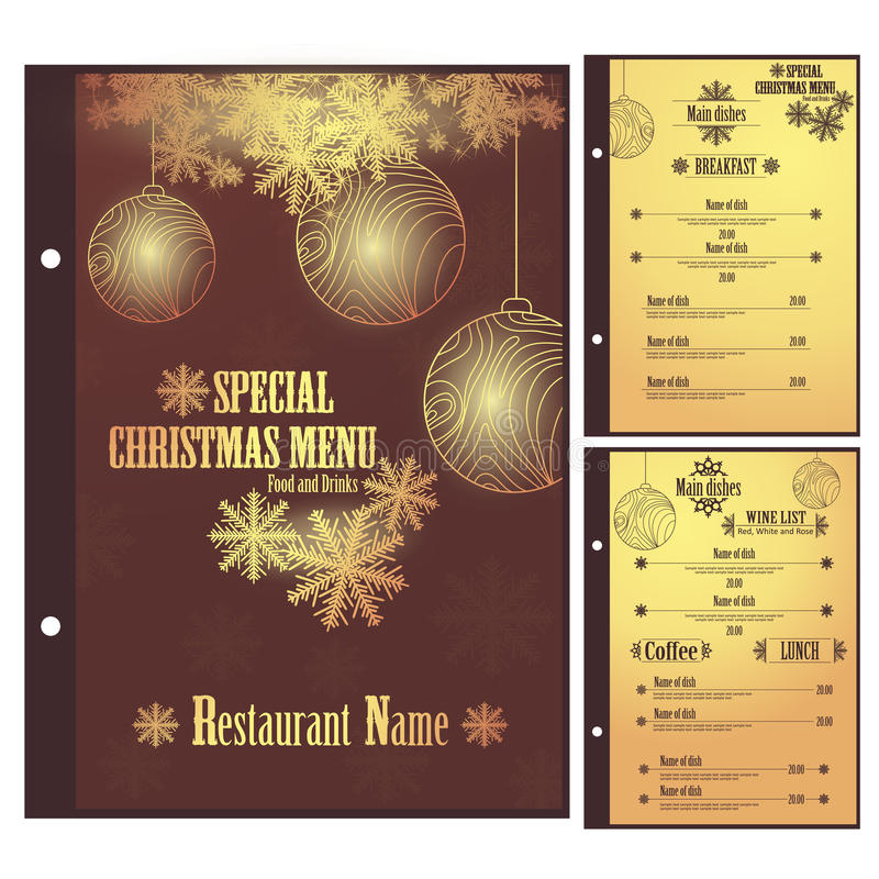 Special julrestaurangmeny för pizza vektor illustrationer