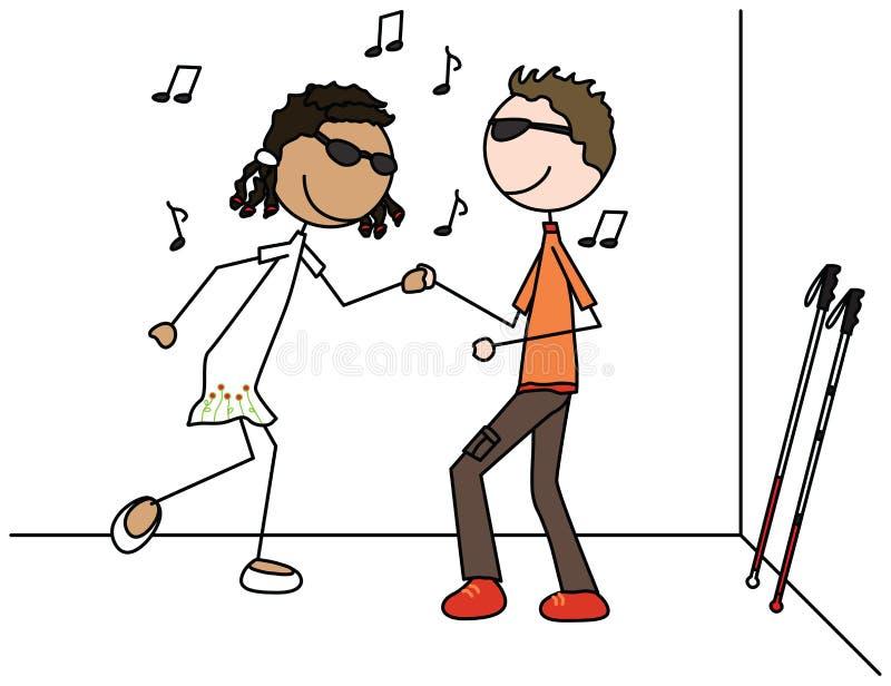 Special kids. Illustration of two blind kids dancing vector illustration