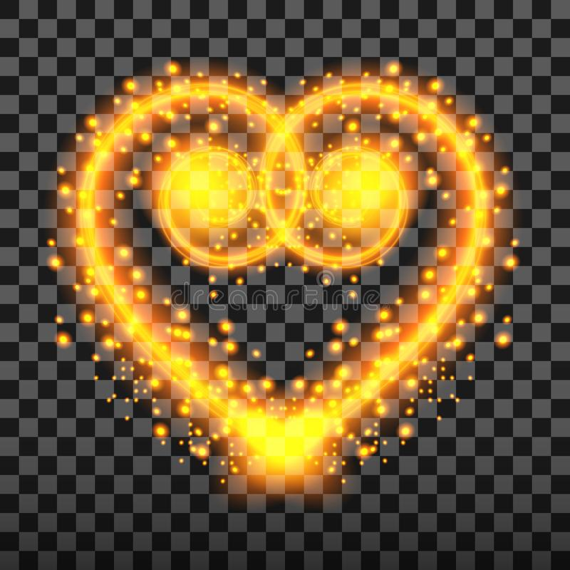 Special light effect of the heart with sparks and Golden. Transparent background, vector illustration. royalty free illustration
