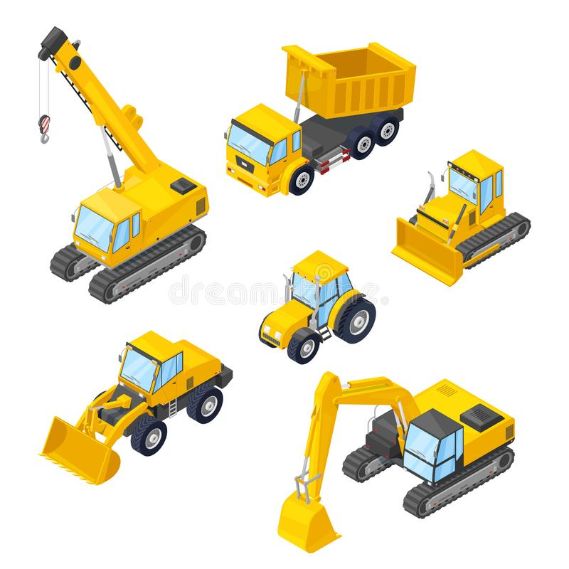 Special machinery icons. Vector 3d isometric illustrations of excavator, wheel loader, bulldozer, tractor, dumper, crane. Special machinery isolated icons royalty free illustration