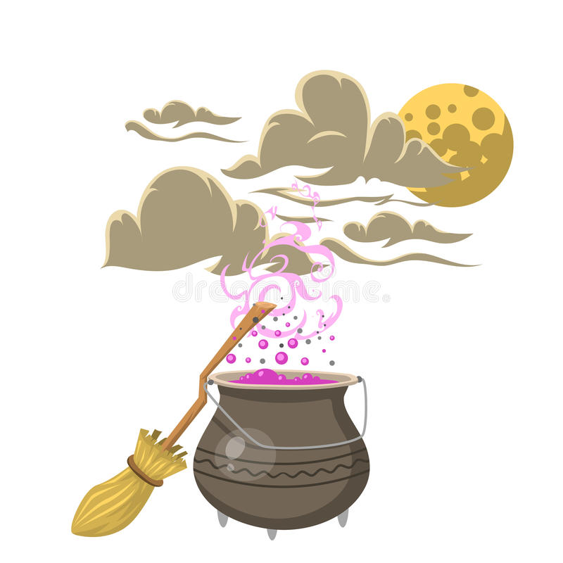 Special magic spell pot with broom trick symbol magician and surprise entertainment fantasy carnival mystery tools vector illustration