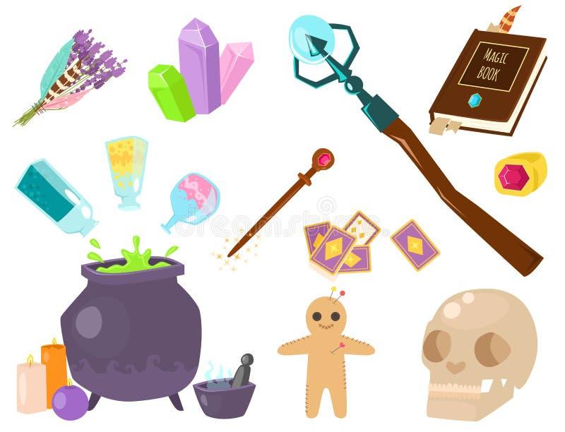 Special magisk gåta för karnevalet för symboltrollkarlfantasin bearbetar illustrationen för vektorn för tecknad filmmirakelgarner stock illustrationer