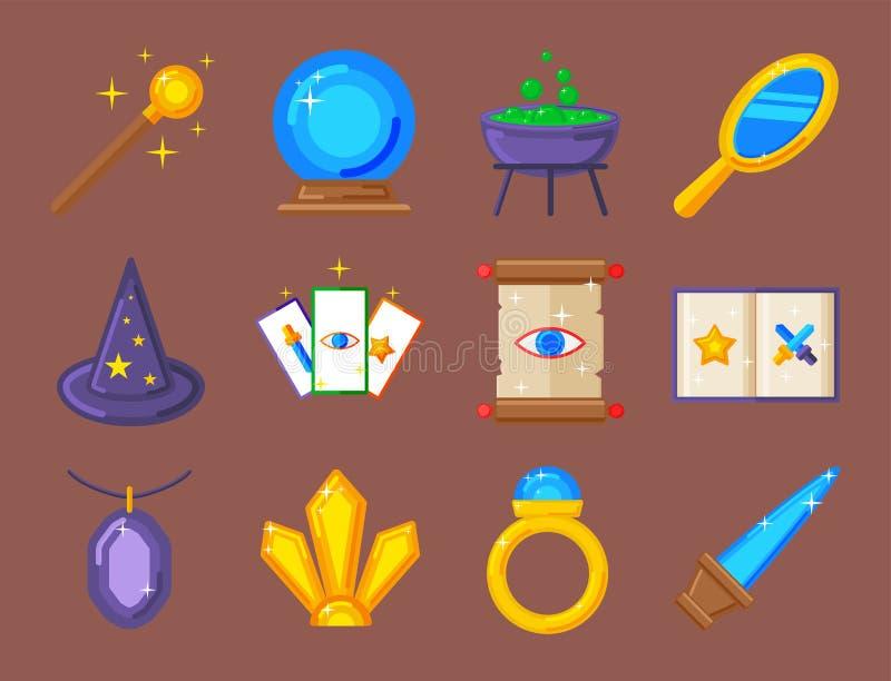 Special magisk gåta för karnevalet för symboltrollkarlfantasin bearbetar illustrationen för vektorn för tecknad filmmirakelgarner vektor illustrationer