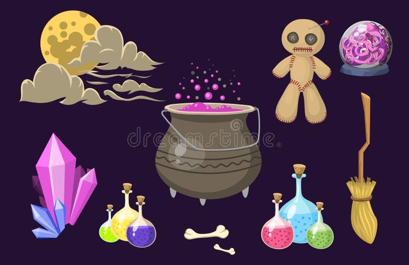 Special magisk tecknad film för hjälpmedel för gåta för karneval för fantasi för trollstav för trollkarl för effekttricksymbol oc stock illustrationer