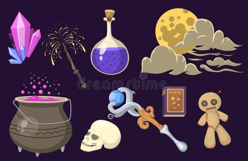 Special magisk tecknad film för hjälpmedel för gåta för karneval för fantasi för trollstav för trollkarl för effekttricksymbol oc vektor illustrationer