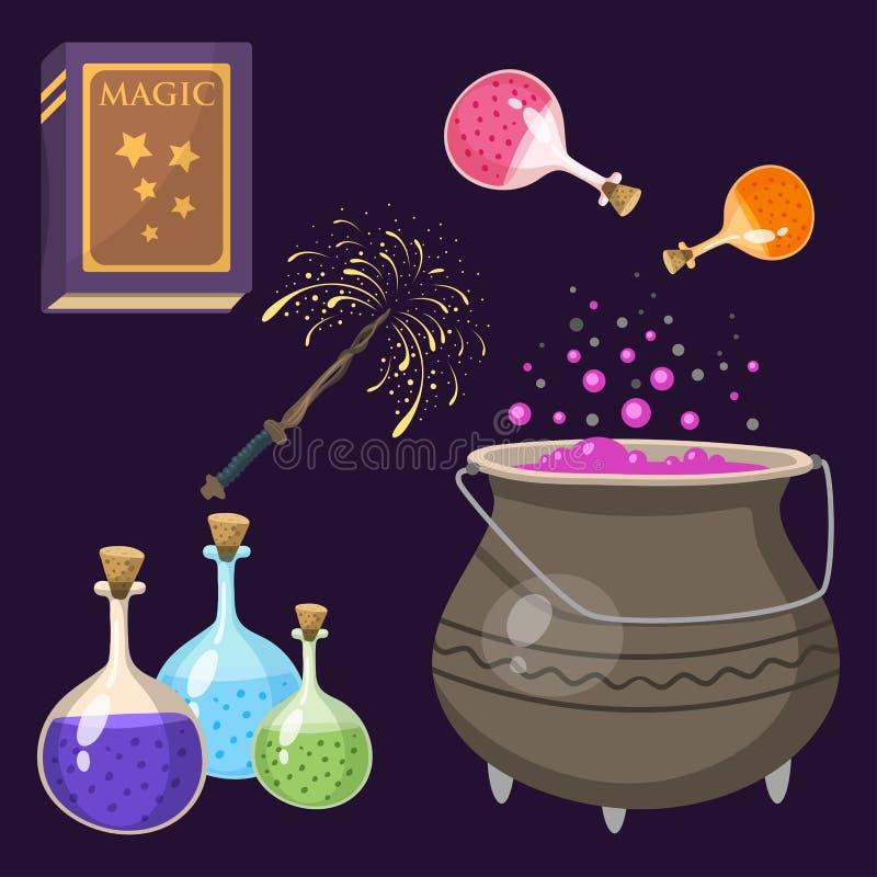 Special magisk tecknad film för hjälpmedel för gåta för karneval för fantasi för trollstav för trollkarl för effekttricksymbol oc royaltyfri illustrationer