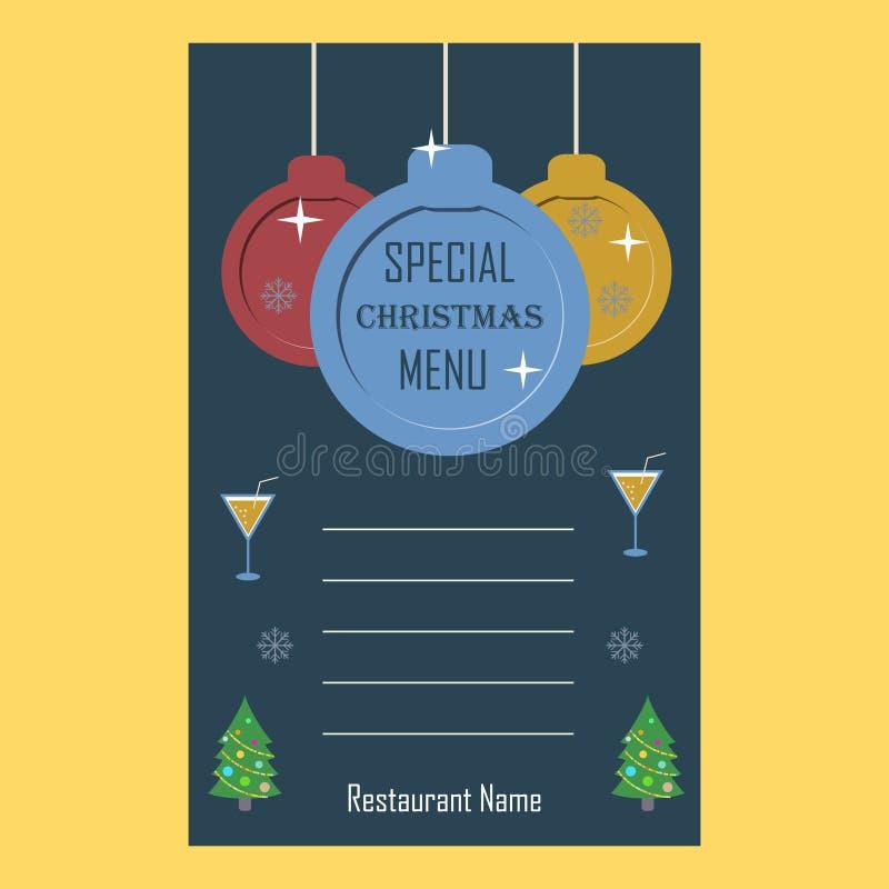 Special mall för design för lägenhet för julrestaurangmeny royaltyfri illustrationer