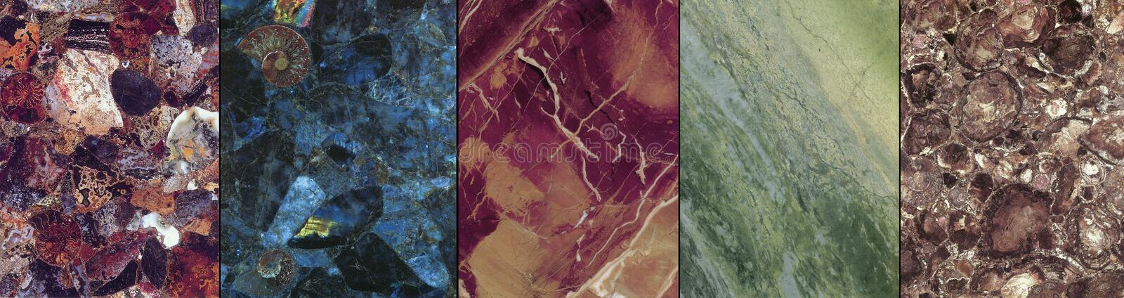 Special marbel an granite stone plates. Creation of nature stone in marble and granite plates stock photography