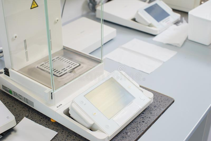 Special measuring equipment on the table in the scientific laboratory of medical production. royalty free stock image