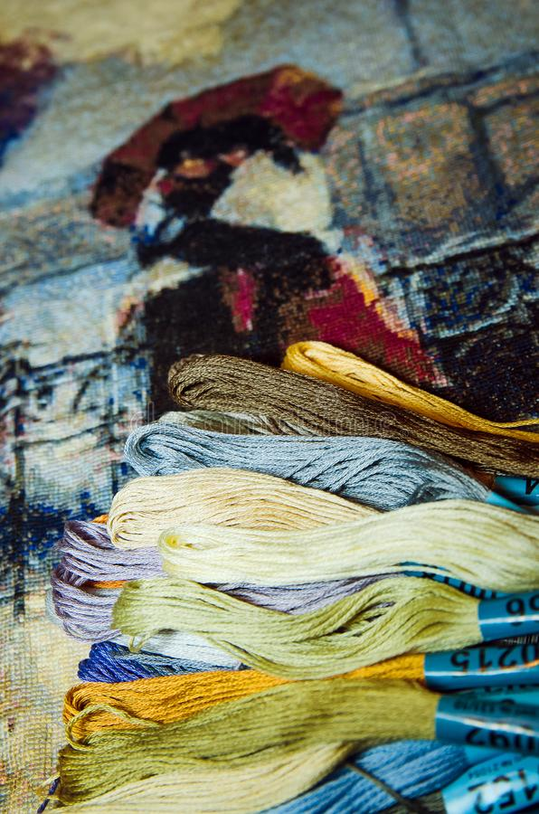 Special multi-colored threads for embroidery. Home crafts, hobbies royalty free stock images