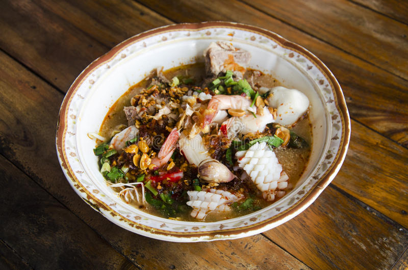 Special noodle spicy soup or noodles tom yam soup thai style royalty free stock images