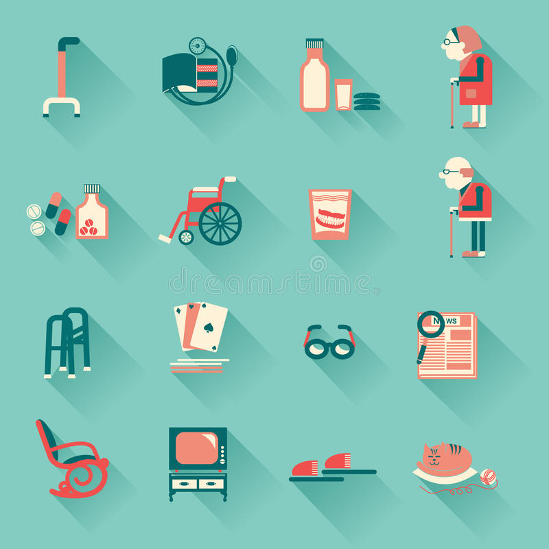 Special objects for pensioners life vector illustration