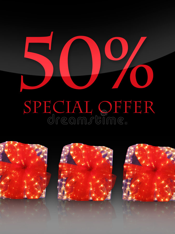 Special offer. Nice lighted Presents in the christmas time with special offer vector illustration