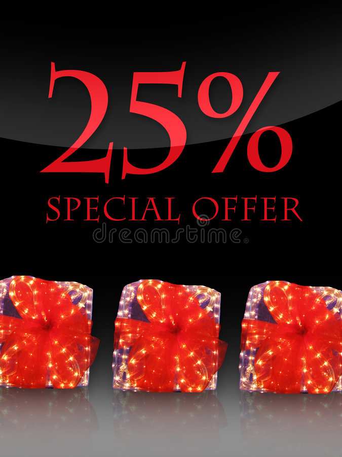 Special offer. Nice lighted Presents in the christmas time with special offer royalty free illustration
