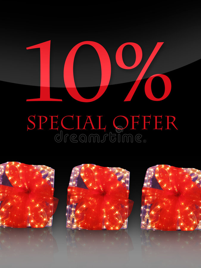 Special offer. Nice lighted Presents in the christmas time with special offer stock illustration