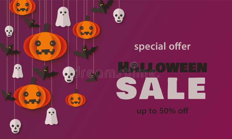Special offer, Autumn Halloween Sale vector illustration in paper cut style. vector illustration