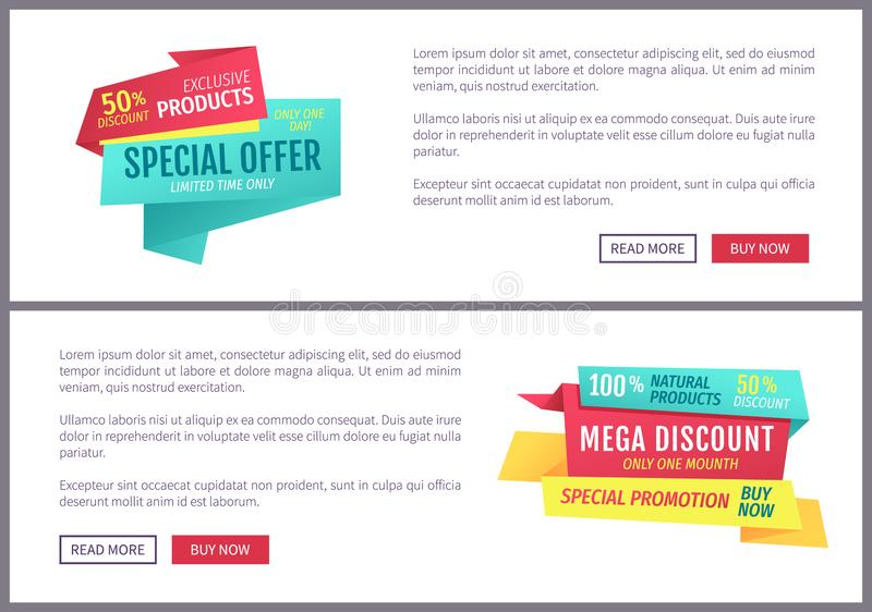 Special offer banners set, vector design icons stock illustration