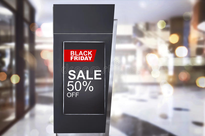 Special Offer on Black Friday announcement in the billboard advertising. At mall royalty free stock photography