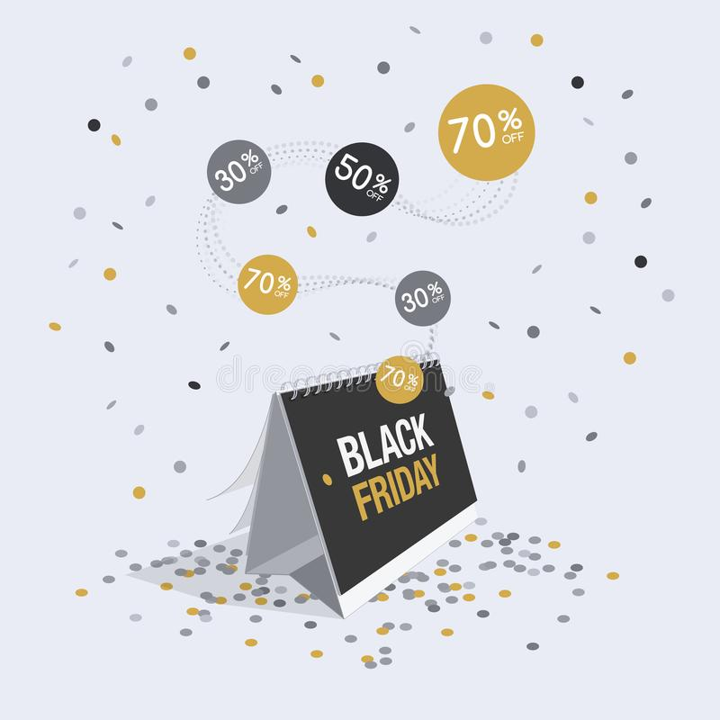 Special offer black friday discount symbol with calendar and flying confetti royalty free illustration