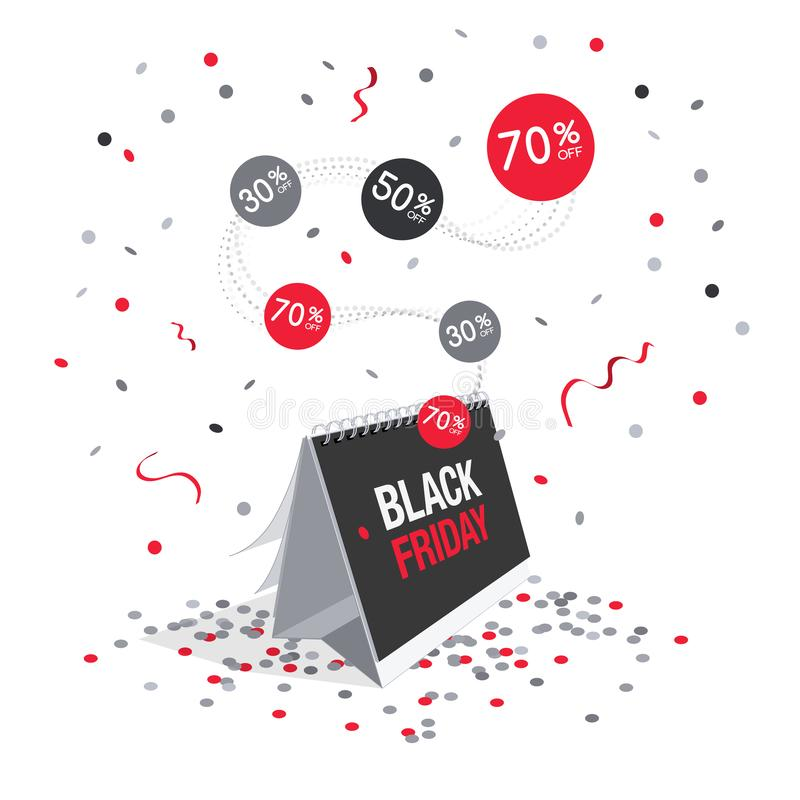Special offer black friday discount symbol with calendar and flying confetti vector illustration