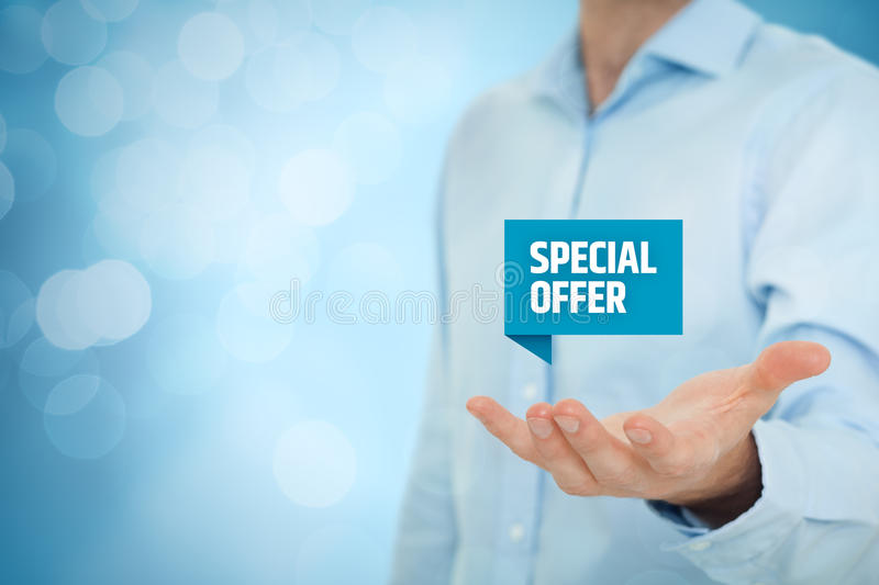 Special offer. Business model and marketing offer concept. Businessman hold virtual label with text , bokeh on background royalty free stock image